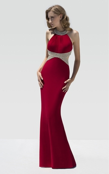 Sheath Floor-Length Jewel-Neck Sleeveless Jersey Beading Draping Dress