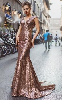 Mermaid Court Train V-Neck Short Sleeve Sequins Pleats Low-V Back Dress