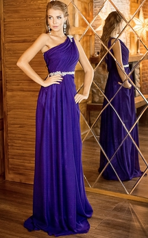 A-Line Floor-Length One-Shoulder Sleeveless Chiffon Appliques Beading Zipper Dress