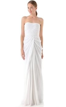 Long Strapless Sheath Taffeta Dress With Criss-Cross Pleats