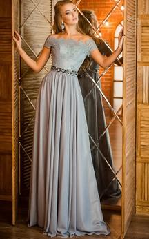 A-Line Short Jewel Short Sleeve Tulle Ruffles Beading Keyhole Dress