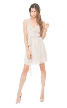 Charming A-Line Short V-Neck Dress With Ruffles