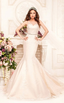 Mermaid Floor-Length Scoop Sleeveless Illusion Satin Dress With Appliques And Waist Jewellery