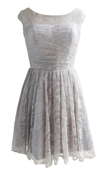 Scoop Lace Dress With Ruching and Zipper Back