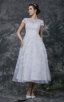 Modern Cap-sleeve Dress With Illusion Neckline and Beaded Lace Applique