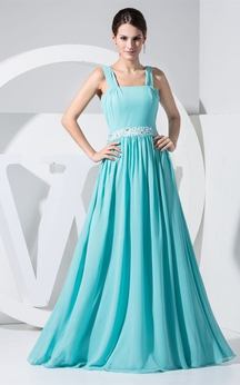 Strapped Maxi Chiffon Jeweled Waist and Gown With Pleats