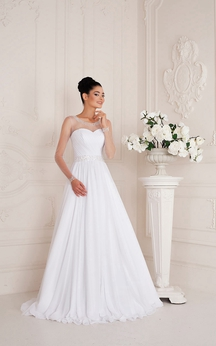 Scoop Neck Long Sleeve A-line Chiffon Wedding Dress With Ruching And Beading