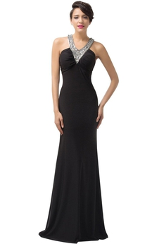 Sleeveless Sheath Chiffon Dress With Beaded Straps