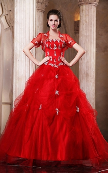 Flamboyant A-Line Ball Gown With Beading and Removable Bolero