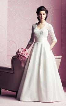 A-Line 3-4-Sleeved Elegant Dress With Lace Bodice