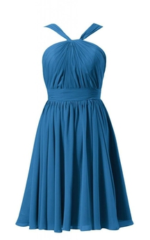 Sleeveless Halter Knee-length Pleated Chiffon Dress