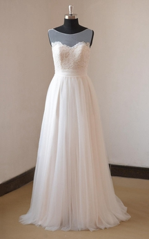 Sleeveless A-Line Pleated Tulle Gown With Lace Bodice and Bateau Neck