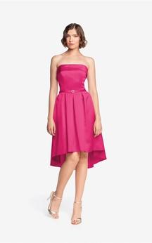 Satin High-Low Strapless A-Line Modern Dress