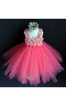High Neck Floral Bodice Pleated Tulle Ball Gown With Sash