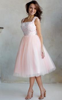 A-Line Knee-Length Square Short Sleeve Tulle Lace Pleats Zipper Dress