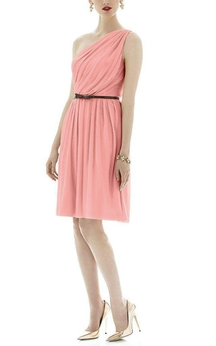 One Shoulder Ruched Short Chiffon Dress with Belt