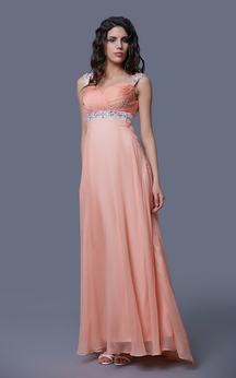 Special Cap-sleeved Beaded and Ruched Chiffon Empire Gown
