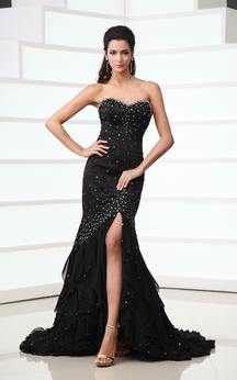 Sleeveless Chiffon High-Low Dress With Beadings