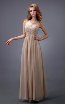 Sweetheart Empire Chiffon Dress With Criss-Cross Ruching