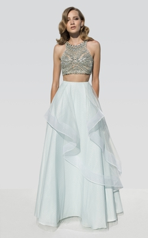 A-Line Floor-Length Scoop-Neck Sleeveless Beading Draping Dress