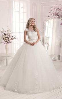 Ball Gown Applique Backless Long Dress