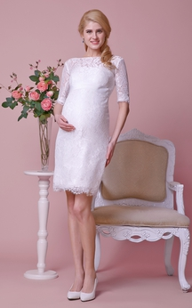 Bateau Neck Half-sleeved Lace Sheath Knee Length Dress With Satin Sash
