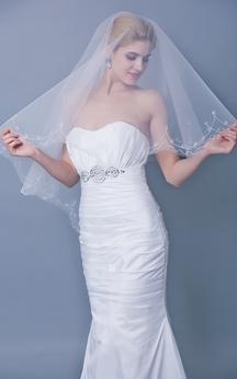 Beaded Trim Mid Length Veil Style