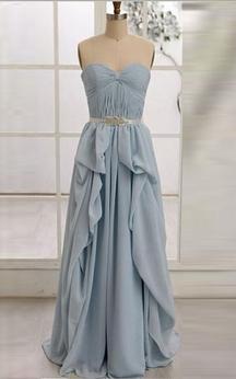 A-line Sweetheart Zipper Chiffon Dress with Ruffles