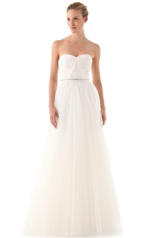 Long Sweetheart A-line Organza Dress With Beaded Belt