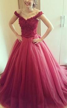 Delicate Lace Appliques Princess Prom Dress 2016 Off-the-shoulder Lace-up