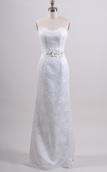 Sleeveless Sweetheart Sheath Lace Dress With Flower Belt and Lace-Up Back