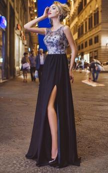 A-Line Floor-Length Jewel Sleeveless Chiffon Beading Appliques Low-V Back Dress
