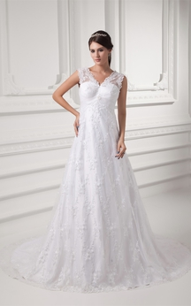Romantic Sleeveless V Neck Satin Appliqued a Line Embellished Wedding Dresses
