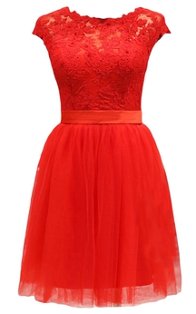 Short-sleeve Lace Bodice Dress With Satin Sash