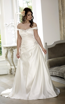 A-Line Floor-Length Off-The-Shoulder Satin Court Train Lace-Up Back Side Draping Dress