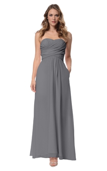 Chiffon Long Strapless A-Line Empire Dress