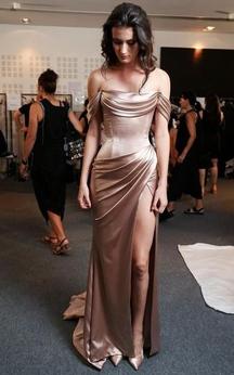 Strapless Off-the-shoulder Sheath Taffeta Long Dress With Side Slit