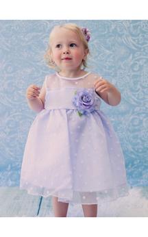 Scoop Illusion Neckline Sleeveless Empire Organza Short Dress With Flower