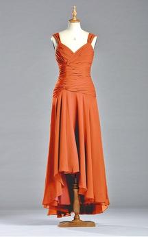 Sleeveless A-line Tea-length Dress with V-neck
