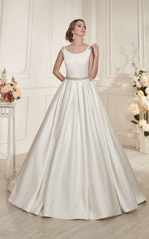 A-Line Floor-Length Scoop-Neck Sleeveless Keyhole Satin Dress With Beading And Pleatings