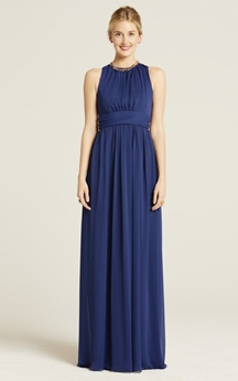 Impressive Long-Chiffon Sleeveless Jewel-Neck Dress