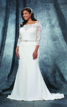 Mermaid Floor-Length Off-The-Shoulder 3-4-Sleeve Sweep Train Illusion Lace Dress