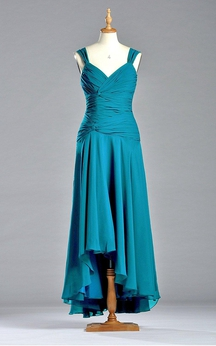 A-line Tea-length Dress with Zipper Detail and Ruches