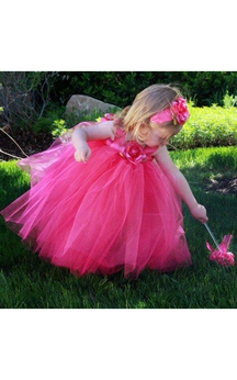 Empire Tulle Ball Gown With Flower and Bow