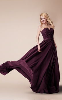 Strapless Floor Length Chiffon Dress With Ruching