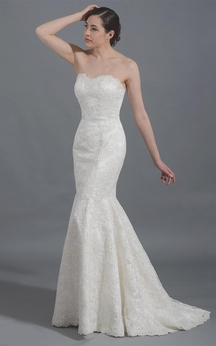 Mermaid Sweetheart Strapless Long Lace Dress With Lace-Up Back