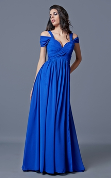 Sweetheart A-line Long Chiffon Dress With Bandage