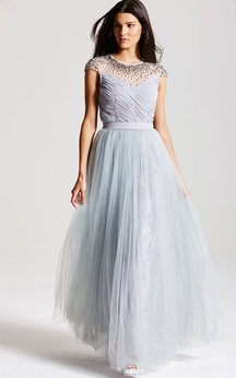 Graceful Layered Illusion Neckline Gown With Keyhole