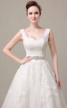 V-Neck Sleeveless A-Line Lace Dress With Beaded Waist