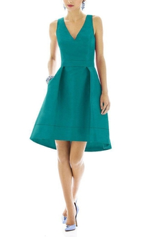 V-neck Short Satin A-line Dress with Pleats